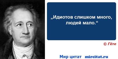 """""""Идиотов слишком много, людей мало."""" — Иоганн Вольфганг Гёте"""