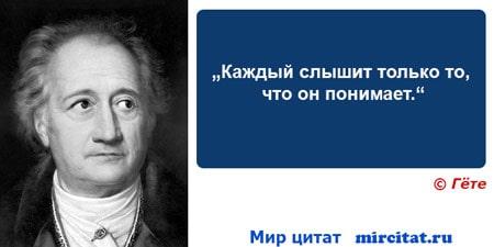 """Мудрый афоризм Гете """"Каждый слышит только то, что он понимает."""""""